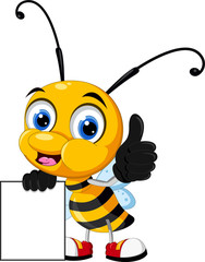 funny cartoon bee thumb up holding blank sign