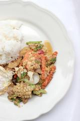 Stir-fried Soft-shelled seafood in curry powder & Thai jasmine rice