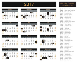 2017 calendar, planner, schedule for companies and private use. - holidays and events posted inside