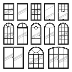 Vector icons set of different types of windows