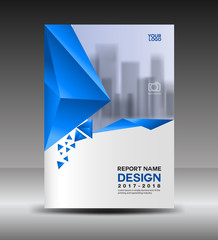 Cover design Annual report vector illustration, business  brochure flyer template, book cover, blue cover, advertisement template