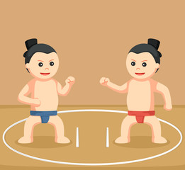 sumo wrestler duel  illustration design