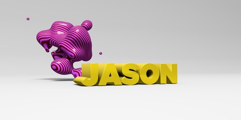JASON -  color type on white studiobackground with design element - 3D rendered royalty free stock picture. This image can be used for an online website banner ad or a print postcard.