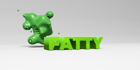 FATTY -  color type on white studiobackground with design element - 3D rendered royalty free stock picture. This image can be used for an online website banner ad or a print postcard.