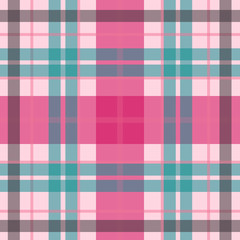 Vector seamless scottish tartan pattern in tender pink, blue. British or irish celtic baby design for textile, fabric or for wrapping, backgrounds, wallpaper, websites