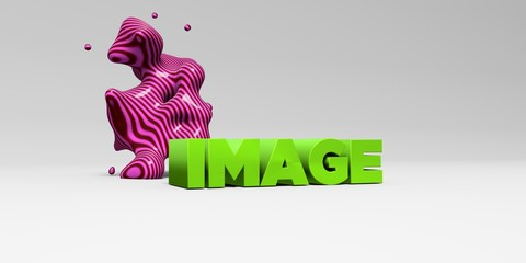 IMAGE -  color type on white studiobackground with design element - 3D rendered royalty free stock picture. This image can be used for an online website banner ad or a print postcard.