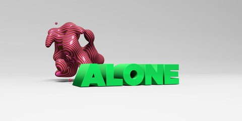 ALONE -  color type on white studiobackground with design element - 3D rendered royalty free stock picture. This image can be used for an online website banner ad or a print postcard.