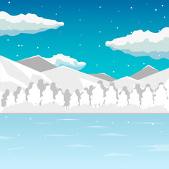 Winter. Sea and mountain landscape, neverending vector illustration, cartoon background for game design. Game location.