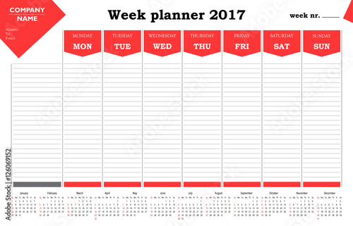 Week planner 2017 calendar for companies and private use ...