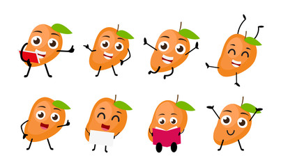 set of funny mango fruit character cartoon