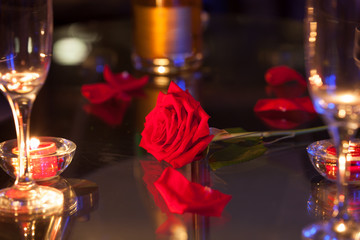 Beautiful red rose on a restaurant table. Romantic date night concept.