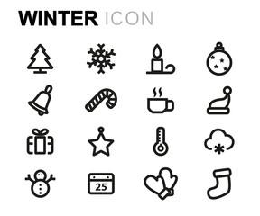 Vector line winter icons set
