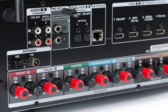 Closeup of the back of an AV receiver