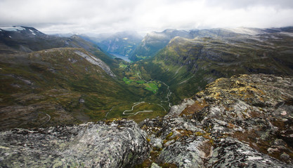Classic summer picture of norwegian valley and fjord Geirangerfjord, Norway, from Dalsnibba mountain