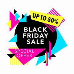 Black Friday Sale banner. Geometric design. Special offer. Vector illustration.