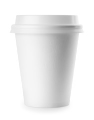 White paper cup with lid