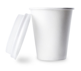 White paper cup with open cap