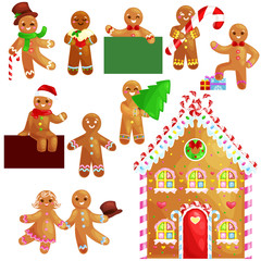 set christmas cookies gingerbread man and girl near sweet house decorated with icing dancing and having fun in a cap with the Christmas tree and gifts, xmas sweet food vector illustration