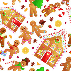 seamless pattern christmas cookies gingerbread man and girl near sweet house decorated with icing dancing and having fun in a cap with the Christmas tree and gifts, xmas sweet food vector illustration