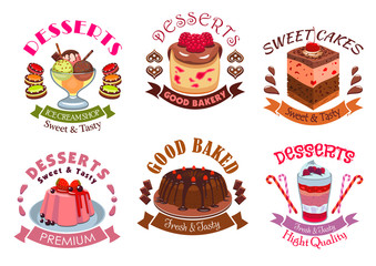 Bakery desserts, pastry cakes emblem labels set