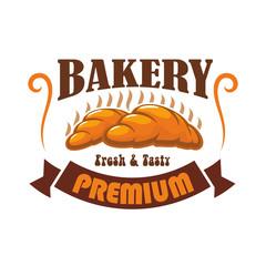 Bakery shop, pastry cafe vector label emblem