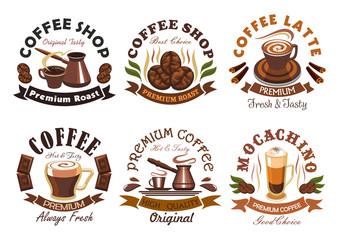 Coffee shop, cafe label emblems set