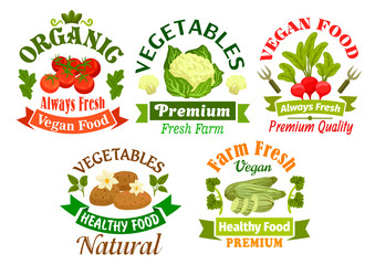 Organic vegan food emblems. Vegetarian vegetables