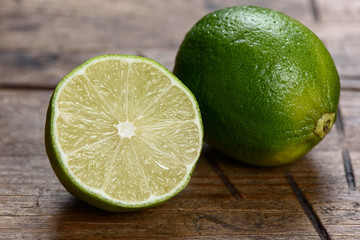 lime slice on a wooden background