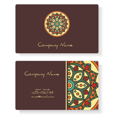Business cards with hand drawn round ornament / Mandala style