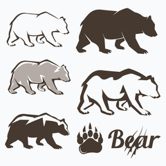 set of walking bear silhouettes in different style, collection o
