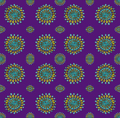 Seamless oriental vector pattern on violet field