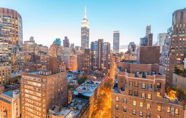 Wall Mural - Sunset aerial view of Midtown Manhattan, New York CIty