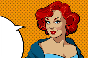 Smiling retro woman with a red wavy hair in a blue dress with speech bubble. Comic vector illustration isolated on a orange dotted background. Pop art style. Pin-up style.
