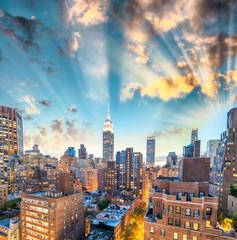 Sunset aerial view of Midtown Manhattan, New York CIty