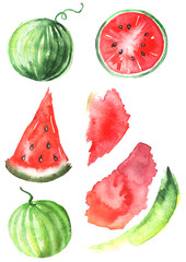 Watercolor set watermelon. The pulp, slice, watermelon seeds, fruit, fruit in cross section. Spot the red and green colors for designs. Other elements in the drawings. On an isolated white background