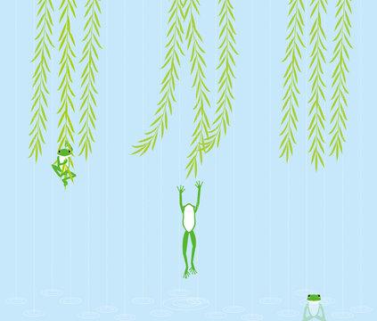 枝垂れ柳に飛びつく蛙 日本の物語