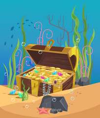 Chest of gold on the ocean bottom. Vector flat cartoon illustration