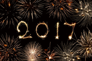 2017 written with sparkles and fireworks