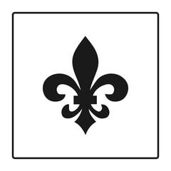Fleur de lis symbol, silhouette - heraldic symbol. Vector Illustration. Medieval sign. Glowing french fleur de lis royal lily. Elegant decoration symbol. Heraldic icon for design, logo or decoration.