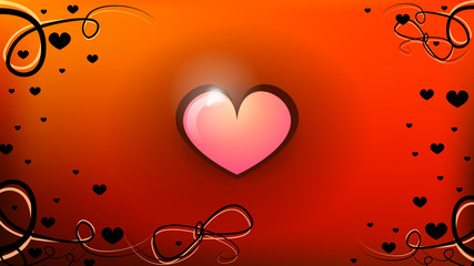 Warm background with sparkling heart.