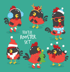 Funny New Year rooster set. Vector illustration.