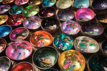 Coconut shell bowls, colorful bowls, wood bowls, Souvenir, enamel coconut shell, coconut bowls