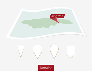 Curved paper map of Jamaica with capital Kingston on Gray Background. Four different Map pin set. Vector Illustration.