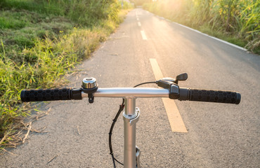 Front handle bar stem biking on rural road