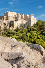 Fototapete - Acropolis fortress from the Areopagus in Athens