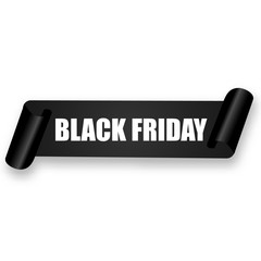 Black friday sale banner with curved paper ribbon. Vector illustration of black horizontal scroll