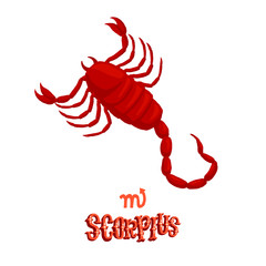Astrological zodiac sign Scorpius. Part of a set of horoscope signs. Isolated vector illustration on white background.