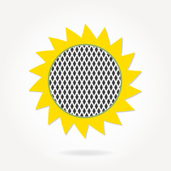 Sunflower icon or sign in flat design. Colorful vector illustration.