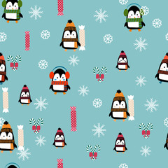 Seamless pattern of cute penguins. Cartoon. Penguins and candy vector illustration. Can be used for printing onto fabric, wrapping paper for web applications