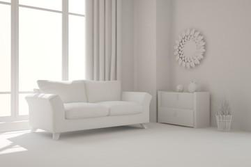 White interior with sofa